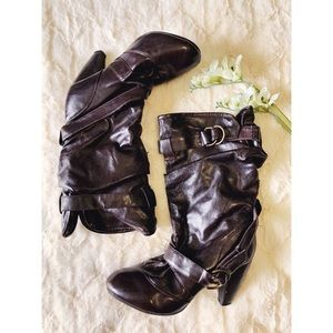 Brown Buckle Mid Calf Slouch Boots